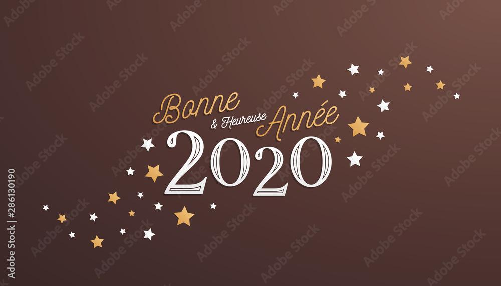 Fototapety, obrazy: Bonne et Heureuse Année 2020, carte de voeux