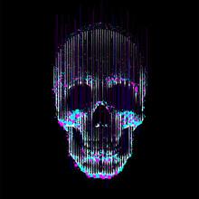 Vector Glitch Line- Art Skull ...
