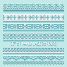 Illustration Set Of Paper Volumetric Lace Borders. Collection Of Decorative Elements