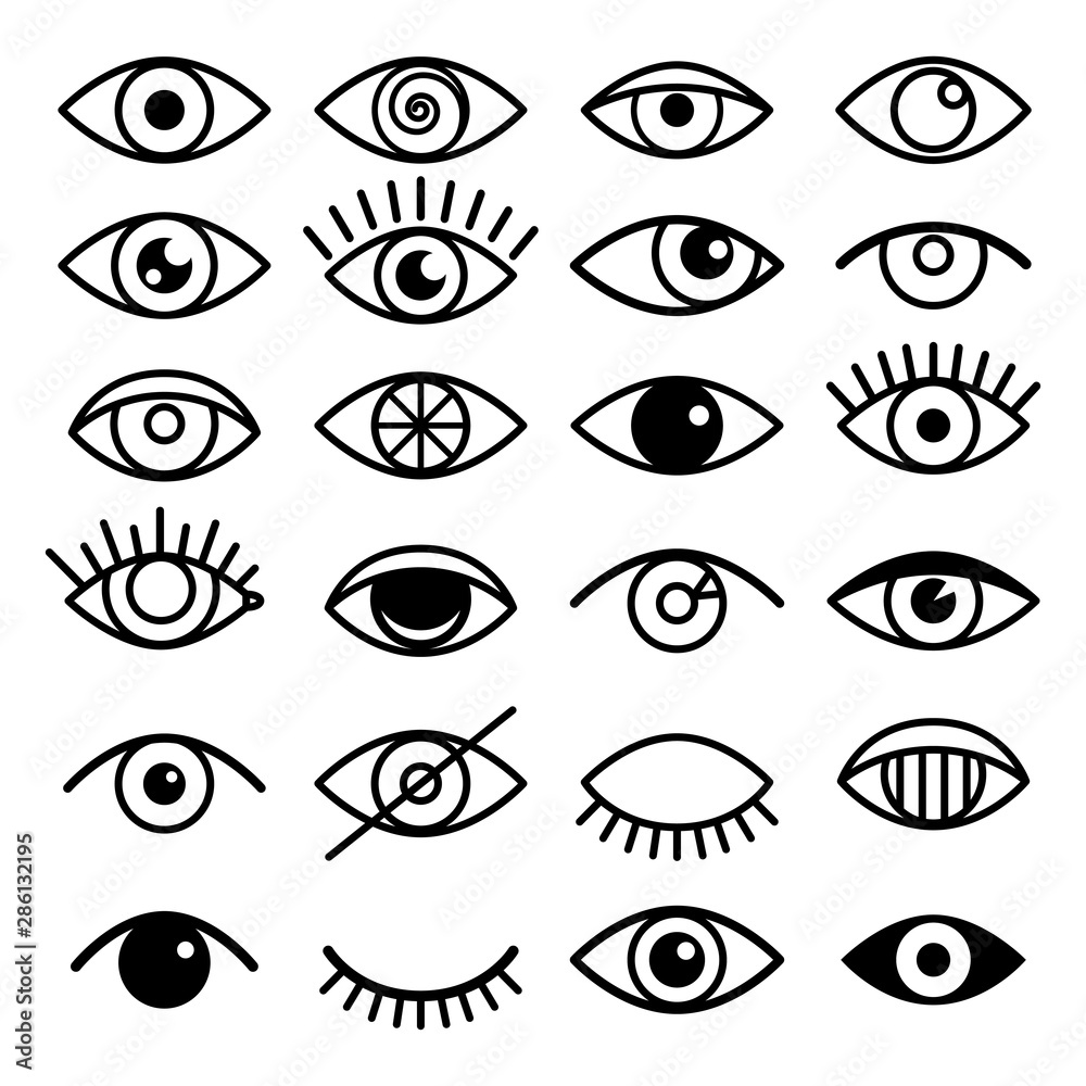 Fototapeta Outline eye icons. Open and closed eyes images, sleeping eye shapes with eyelash, vector supervision and searching signs