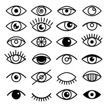 Outline Eye Icons. Open And Closed Eyes Images, Sleeping Eye Shapes With Eyelash, Vector Supervision And Searching Signs