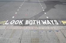 Look Both Ways Sign Pedestrian Crossing London UK