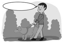 Cartoon Characters Illustration  Blind Young Man And Guide Dog   Walking In A Park And Speech Bubble And Grey Colors