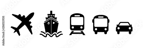 Transport icons in flat style on white Canvas Print