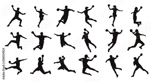 Fotografie, Tablou Man Handball Player Silhouette