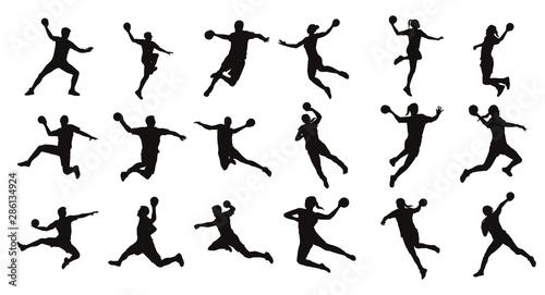Obraz na plátne Man Handball Player Silhouette