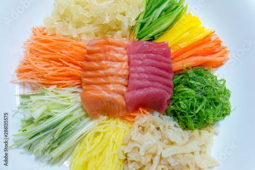 delicious slice sashimi salmon and tuna Canvas Print