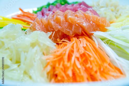 Photo  delicious slice sashimi salmon and tuna