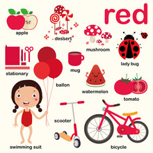 Learn Red Color, Educate Color And Vocabulary Set, Illustration Of Primary Colors, Vector Illustration