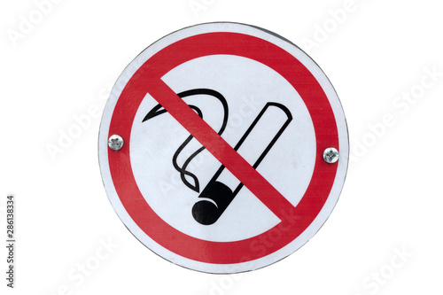 Fotografie, Obraz Smoking prohibited not allowed sign banner. Isolated on white.