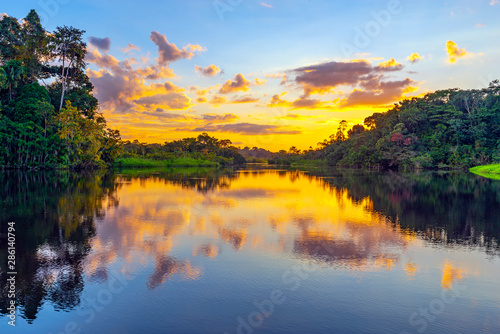 Photo A magic sunset in the Amazon Rainforest inside Yasuni national park