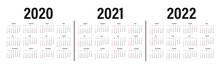 Calendar 2020, 2021 And 2022 Template. Calendar Mockup Design In Black And White Colors, Holidays In Red Colors, Week Starts On Sunday