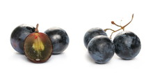 Fresh Dark, Black Half Grapes Isolated On White Background