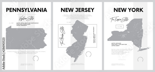 Fototapeta Vector posters with highly detailed silhouettes of maps of the states of America, Division Mid-Atlantic - Pennsylvania, New Jersey, New York - set 3 of 17 obraz