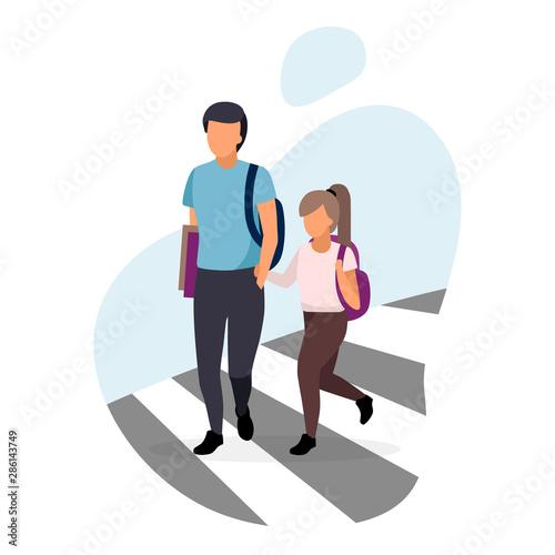 Fotografija Schoolchildren crossing the road flat illustration