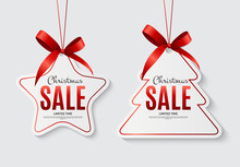 Christmas Sale Labels With Bow...