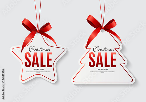 Fotografia  Christmas Sale Labels with Bow. Vector Illustration