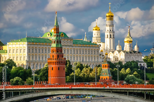 Red towers of the Moscow Kremlin. Russia. Wallpaper Mural