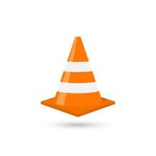 Construction Traffic Cone Icon, Warning Sign Design. Vector Illustration.