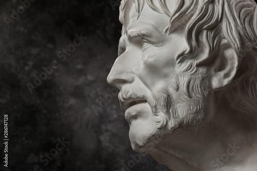 Fényképezés Gypsum copy of ancient statue Seneca head on dark textured background