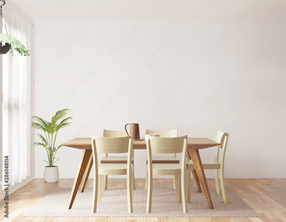 Fototapeta Dining room and kitchen copy space on white background, front view,3D rendering