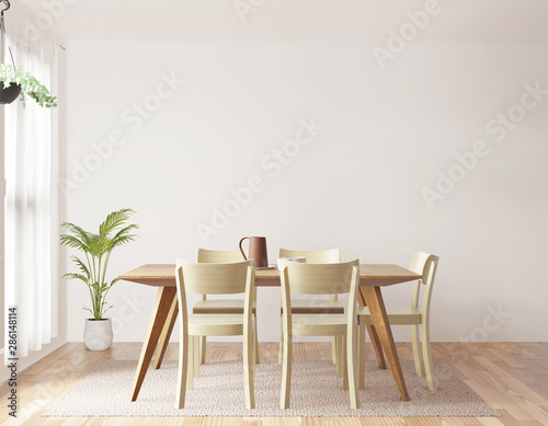 Fotomural  Dining room and kitchen copy space on white background, front view,3D rendering