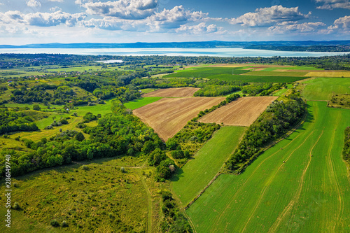 Obraz Aerial view of agricultural fields with lake Balaton - fototapety do salonu