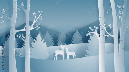 Deer Couple In Forest In Paper Cut Style Winter Landscape