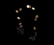Black Hands Juggle Money. Secret Money Management And Capitalist Concept. 3d Illustration