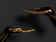 Black And Gold Palm Presenting Gesture Isolated On Black Background, Abstract Hand Sculpture,  3d Rendering,