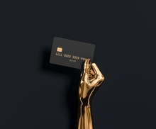 Abstract Gold Hand Sculpture Holding Credit Card, The Best Banking Offer For VIP Customers. 3d Illustration