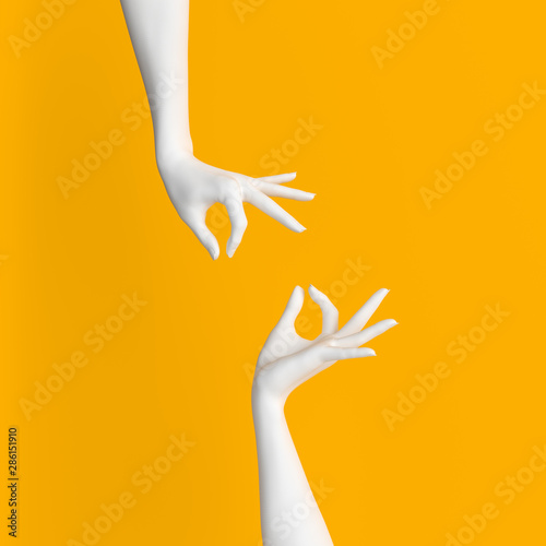 Stampa su Tela Abstract Hand pose like picking something isolated on yellow