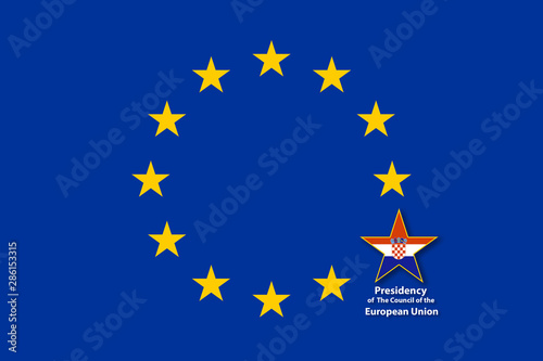 Obraz na plátně EU Flag, one of the 12 stars bigger than the others and with the flag of Croatia inside