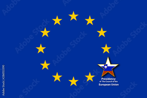 Fototapeta EU Flag, one of the 12 stars bigger than the others and with the flag of Slovenia inside