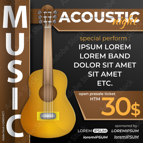 Acoustic Night Music Design Template With Guitar For Social Media Post Web Ads Banner Flyer Etc Buy This Stock Vector And Explore Similar Vectors At Adobe Stock Adobe Stock
