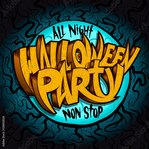 Fototapeta All Night Halloween Party Banner Concept Invitation Card