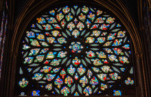 Stained Glass Window In Poissy Collegiate Church, Paris, France