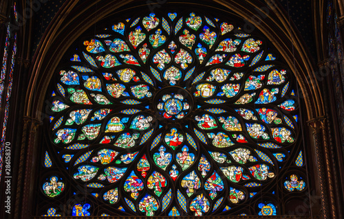 Fotografie, Obraz  Stained glass window in Poissy collegiate church, Paris, France