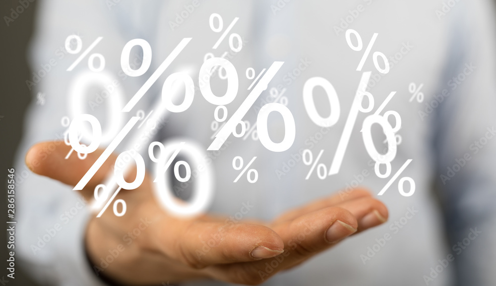 Fototapeta sale digital percent in hand