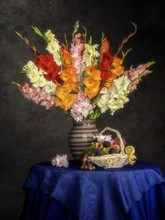 Still Life With Splendid Bouquet Of  Gladiolus Flowers