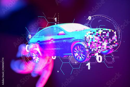 digital car technology smart in virtuel room