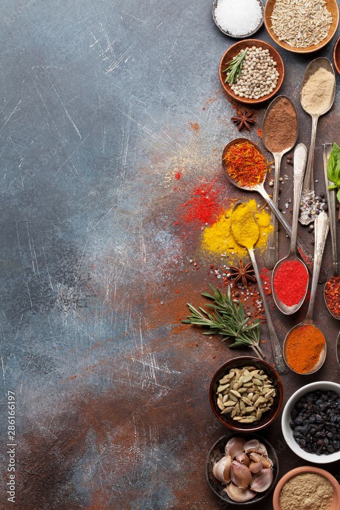 Fototapety, obrazy: Set of various spices and herbs