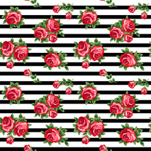 Vector Seamless Background With Red Roses And Black And White Stripes