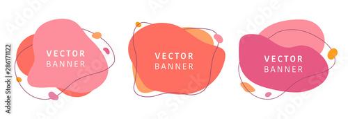 Fototapeta Set of abstract vector modern background. Geometric illustration template background. Flat colorful liquid shape. obraz
