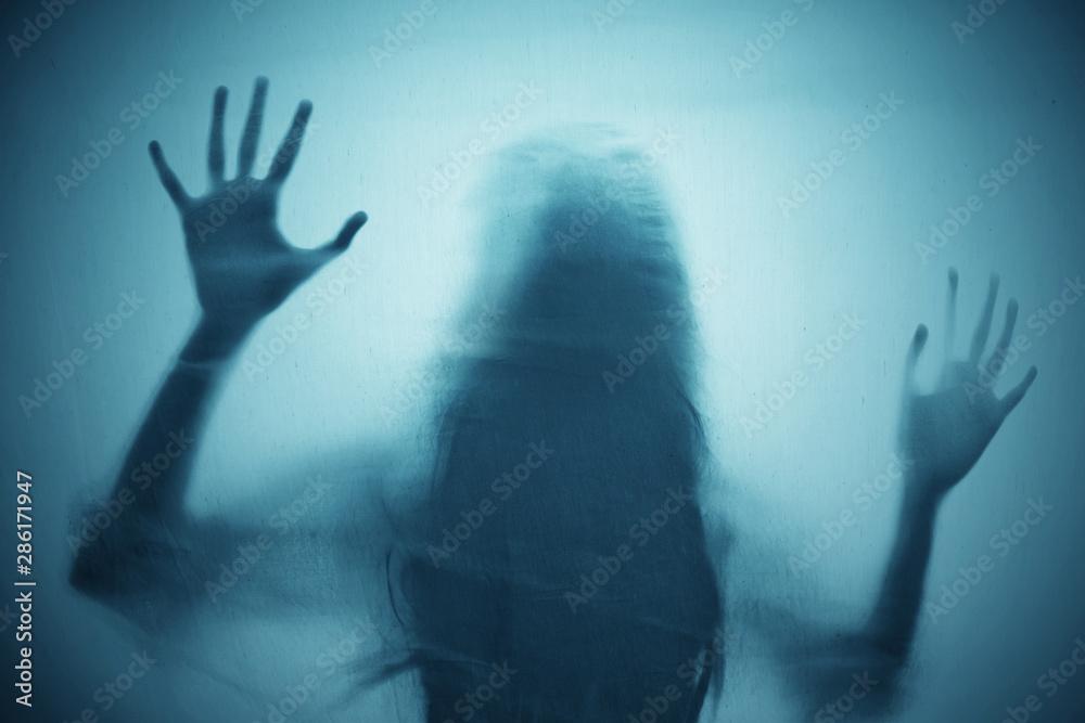 Fototapeta Shadow of scary ghost woman