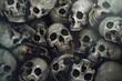 Leinwandbild Motiv Pile of human skull background