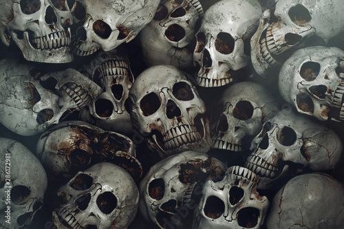 Photographie Pile of human skull background