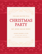 Christmas Party Invitation Template With Knitted Red Christmas Pattern