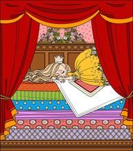 Little Princess Sleeping On A High Bed With Many Mattresses Color And Outlined Picture For Coloring Book On White Background
