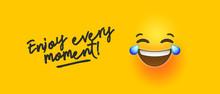Funny Yellow Emoji Banner Enjo...